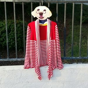 Red and White Cartigan Sweater